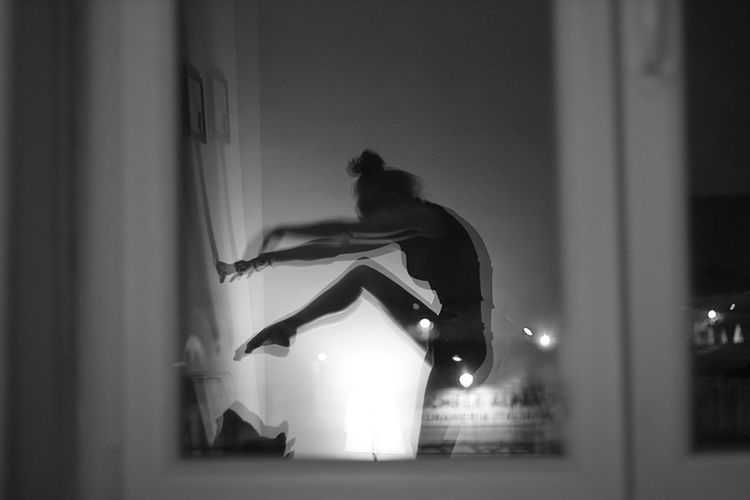Dancing alone. Dance Dancing Reflection Window Sararoot Blackandwhite Photography Black & White Ballerina Ballett Self Portrait People And Places Monochrome Photography The City Light Place Of Heart Mix Yourself A Good Time