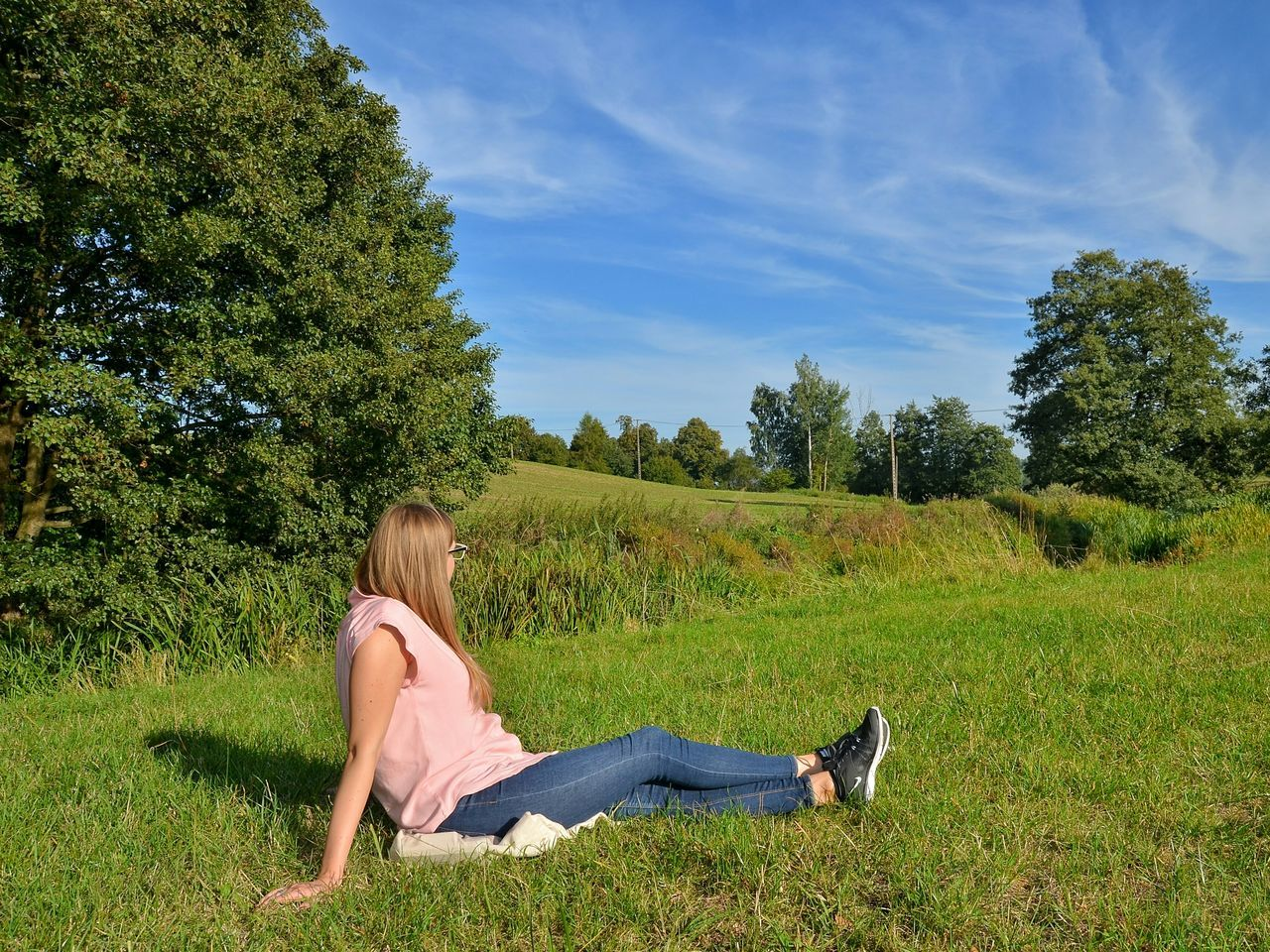 Full Length Summer Tree Only Women One Woman Only One Person Young Adult Outdoors Day Grass Leisure Activity Young Women One Young Woman Only Relaxation Sun Sunnyday Warmia Poland Polska