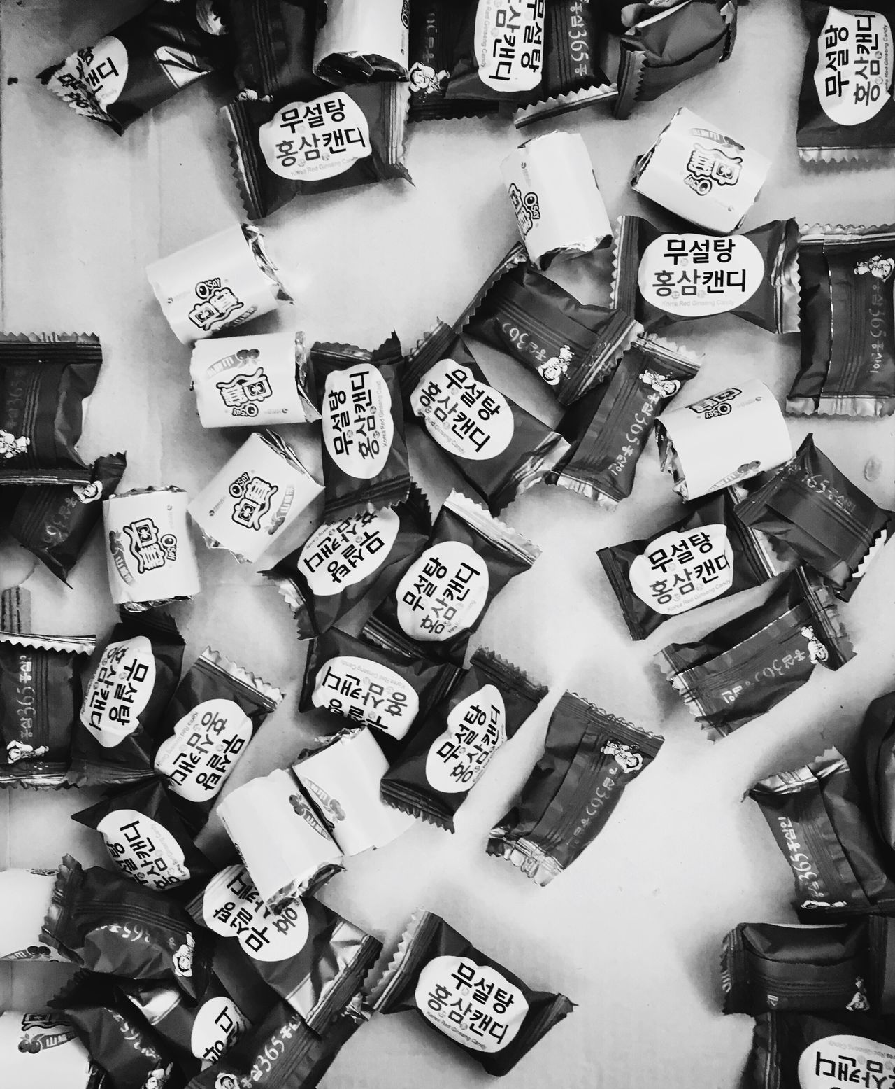 korean candys Large Group Of Objects No People Korean Food Korea Candy Ginseng Blackandwhite Blackandwhite Photography Black White