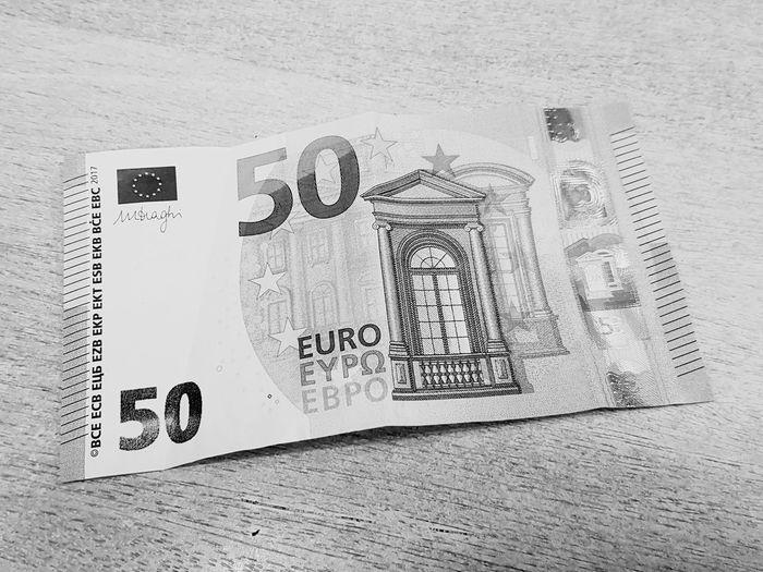 Number No People Indoors  Money Money Money Money Money Around The World Geld Geldschein  50 Euro EUR Day Close-up Blackandwhite Black And White Black & White