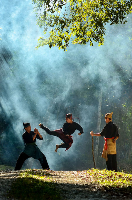 Asian  Break The Mold Day Fight Guru INDONESIA Malaysian Martial Arts Master Men Nature Outdoors People Practicing Real People Self Protection Silat Sword Togetherness Traditional Tree