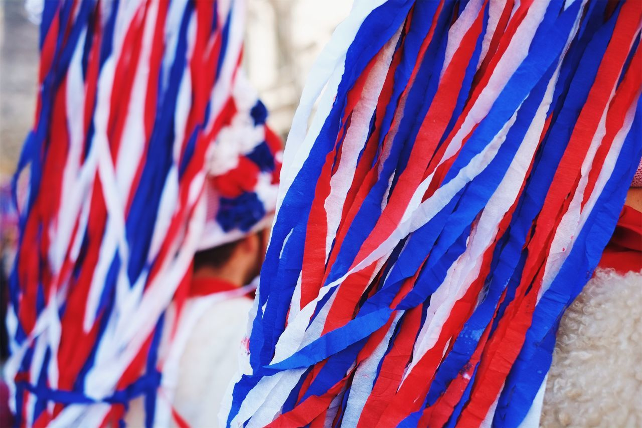 Let the fun begin. Flag Multi Colored Patriotism Close-up No People Day Backgrounds Outdoors Costume Party Costume Carnival - Celebration Event Rear View Travel Destinations Imagination Creativity Colors