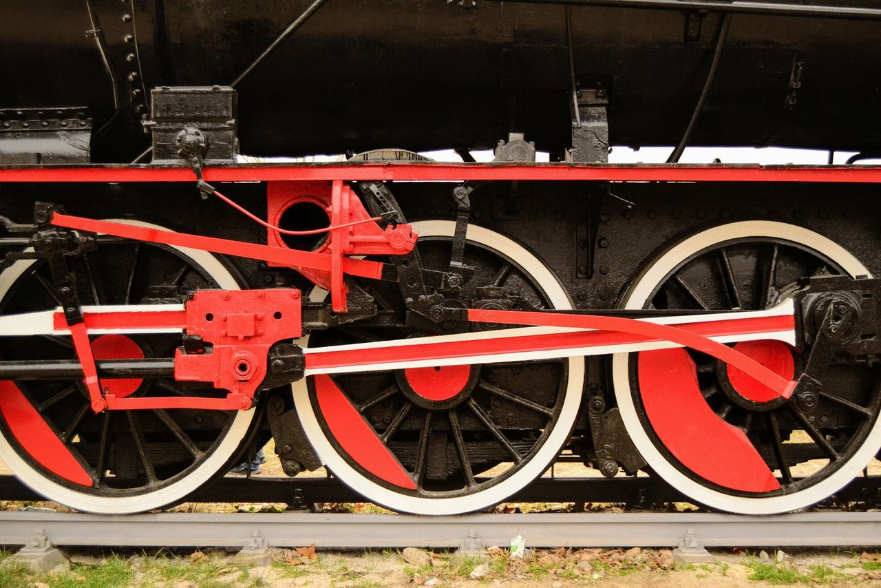 transportation, rail transportation, wheel, railroad track, train - vehicle, mode of transport, red, stationary, locomotive, old-fashioned, no people, outdoors, steam train, freight transportation, day