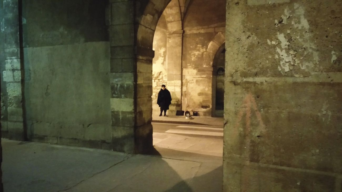 The Singer . · Paris France Le Marais Singers Singing Performance From A Distance From My Point Of View Out Of Sight Walls Built Structure Real People Poor Lighting