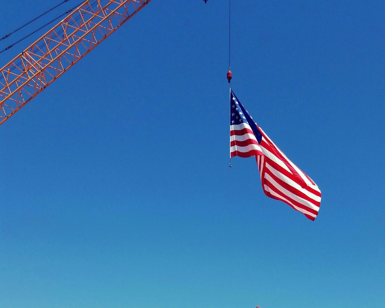 Beautiful stock photos of american flag, American Flag, Blue, Clear Sky, Crane