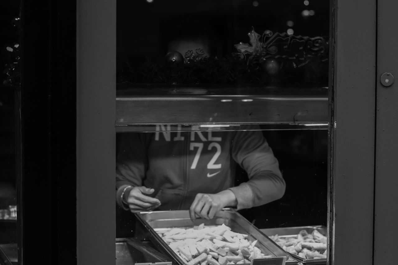 food and drink, food, real people, preparation, indoors, one person, preparing food, occupation, freshness, commercial kitchen, lifestyles, men, bakery, chef, working, food and drink establishment, butcher, ice cream parlor, day, human hand, people
