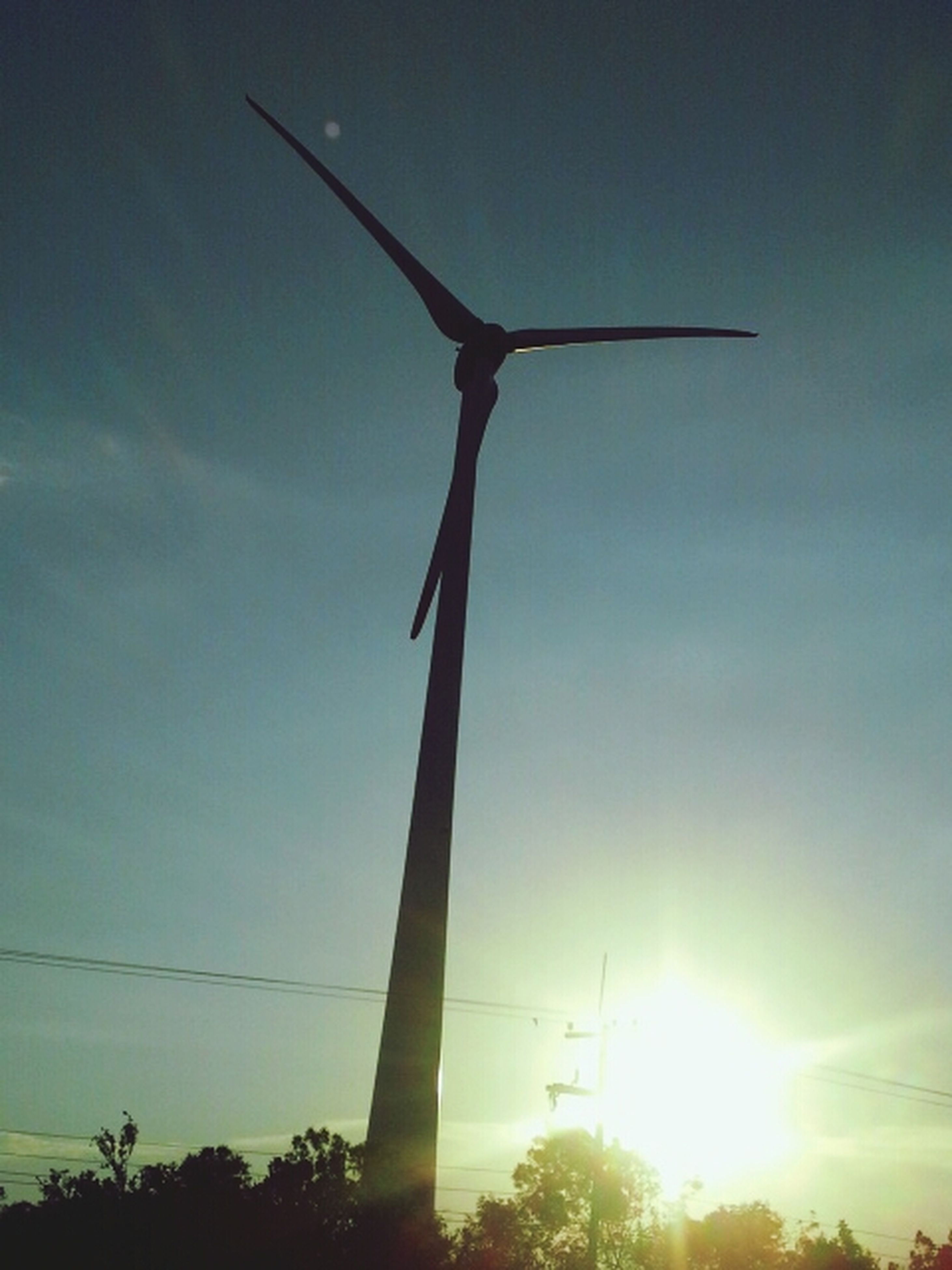 low angle view, sun, fuel and power generation, wind turbine, wind power, alternative energy, renewable energy, environmental conservation, windmill, sky, sunlight, sunbeam, technology, lens flare, silhouette, clear sky, outdoors, tree, no people, built structure