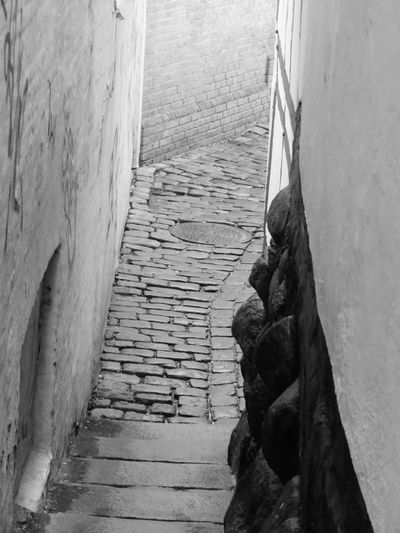 Outdoors Narrow Street Old Aalborg Closeness Deminishing Perspective Blackandwhite Miles Away Hidden Away The Secret Spaces The Architect - 2017 EyeEm Awards Let's Go. Together. Black And White Friday