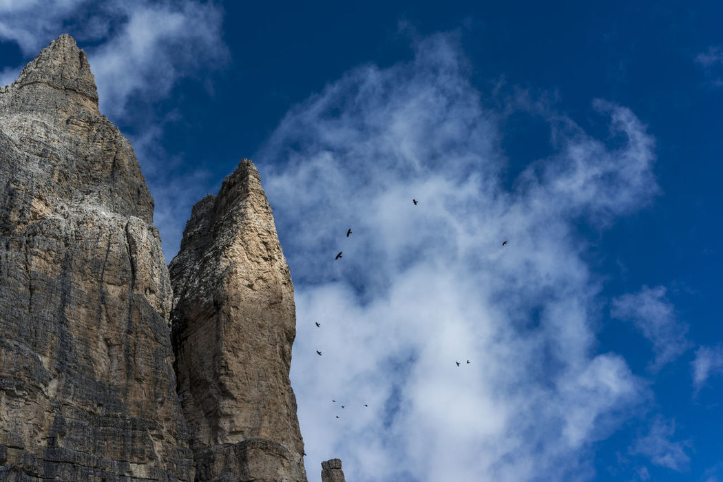 Dolomites, Italy Südtirol Tre Cime Di Lavaredo Alpine Birds Beauty In Nature Blue Blue Sky Cloud - Sky Day Drei Zinnen Low Angle View Montains And Cloud Nature No People Outdoors Sky Text Space