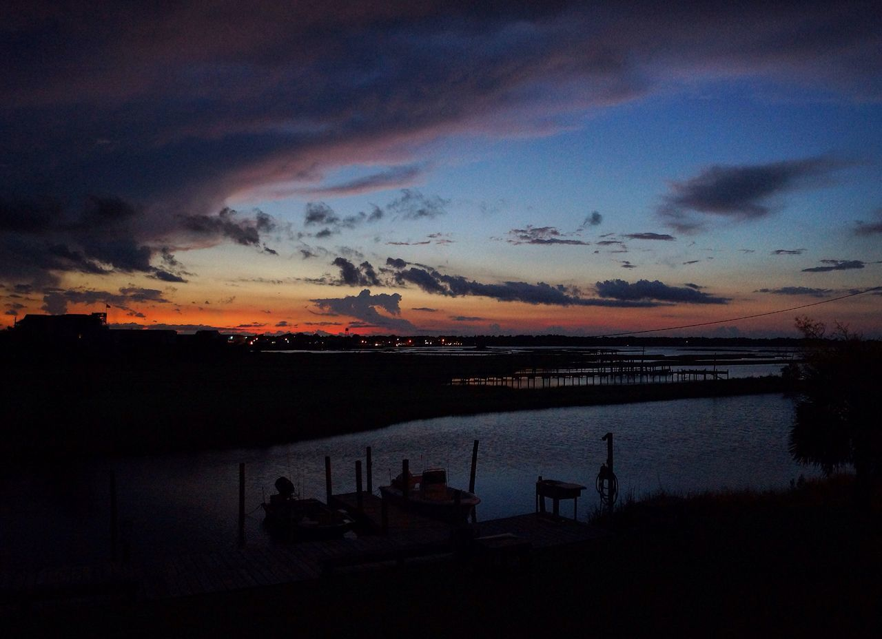 sunset, silhouette, sky, dusk, nature, beauty in nature, cloud - sky, water, scenics, tranquility, outdoors, sea, no people, day