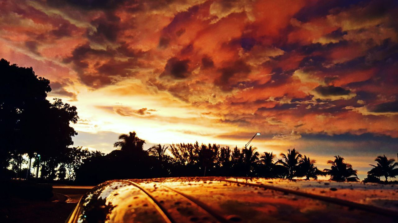 car, sunset, cloud - sky, transportation, land vehicle, tree, mode of transport, sky, car interior, no people, road, scenics, nature, silhouette, windshield, beauty in nature, outdoors, day
