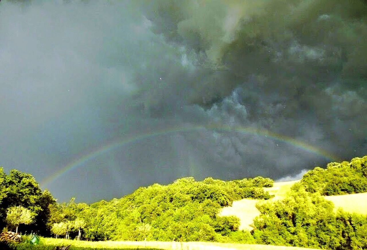 rainbow, tree, beauty in nature, weather, nature, scenics, double rainbow, storm cloud, dramatic sky, storm, green color, rural scene, outdoors, tranquility, no people, day, thunderstorm, mountain, landscape, sky