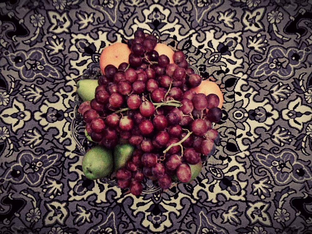 The Fruits of Passion. Grapes Guavas Oranges Composition