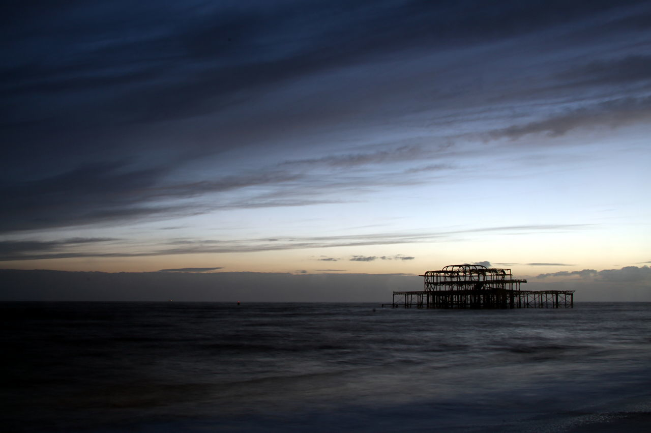 A storm approaches the West Pier in Brighton UK Architecture Beauty In Nature Cloud - Sky Day Horizon Over Water Idyllic Nature No People Outdoors Scenics Sea Sky Storm Cloud Sunset Tranquility Water West Pier ...shame West Pier, Brighton