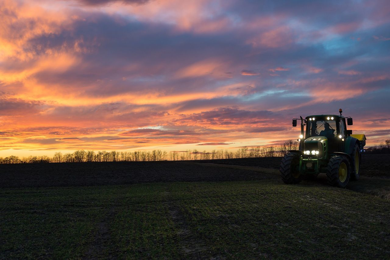 Spring is almost here and the farmers are already out Agriculture Farm Agricultural Machinery Sky Rural Scene Sunset Field Outdoors Nature Cloud - Sky Landscape Tractor Slovenia Colorful Scenics Beauty In Nature farming