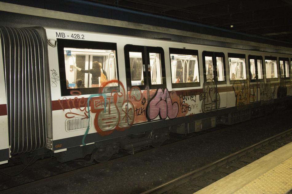 Subway grafitti Color Expression Graffiti Public Transportation Rail Transportation Railroad Station Platform Tagging Taking Photos Travel