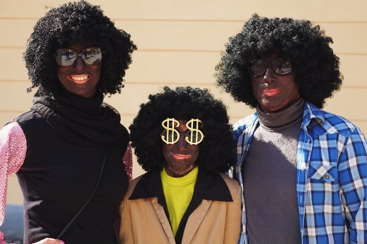 The original funk soul disco family. Wig Curly Hair Lifestyles Looking At Camera Afro Waist Up Leisure Activity Portrait Friendship Real People Happiness Men Cheerful Togetherness Smiling Adults Only Adult People Day Family Bonding Happy Costume Party