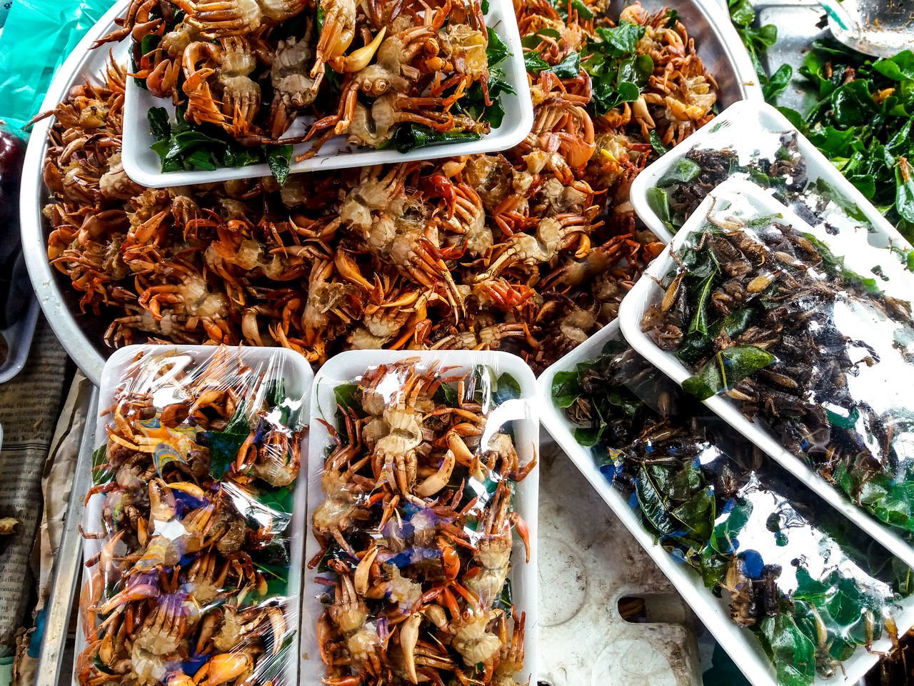 Vientiane, Laos Streetfood Fried Crab Food And Drink High Angle View Food Ready-to-eat No People Indoors  Freshness Close-up Day Travel Photography Travel Lao Street Food Travel Street Photography Textured  Pattern, Texture, Shape And Form Golden Shimmer