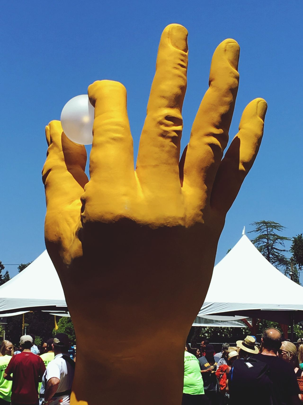 Human Body Part Human Hand Yellow Blue Sky Hand Fingers Hand Sign Hand Signals Hand Signal Hand Signs Sculpture Hand Model Hand Modeling Ping Pong Ping Pong Ball
