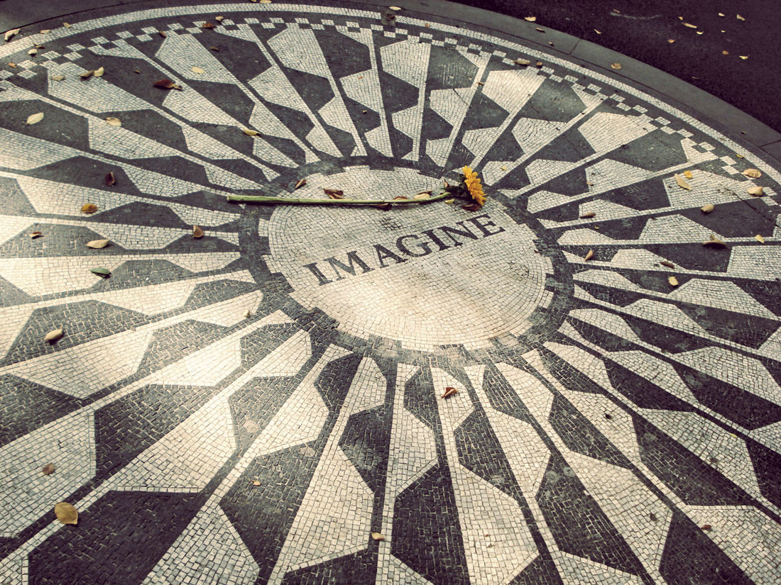 Full Frame Geometry Imagine All The People John Lennon Looking Down New York New York City No People Pattern Pavement Seeing The Sights Showcase: November Strawberry Fields Textured  USA Pattern Pieces Beatles Beatles Inspiration Beatlesmania Q Quote Quotes Landscapes With WhiteWall