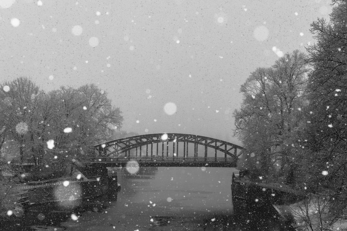 Sturmtief Frederike. Winter in the city with heavy snowfall. City Fresh On Eyeem  Sturmtief Frederike Trees Weather Weather Phenomenon Winter Architecture Bare Tree Bridge - Man Made Structure Built Structure Cold Temperature Nature No People Outdoors River Snow Snowfall Snowflake Snowing Shades Of Winter