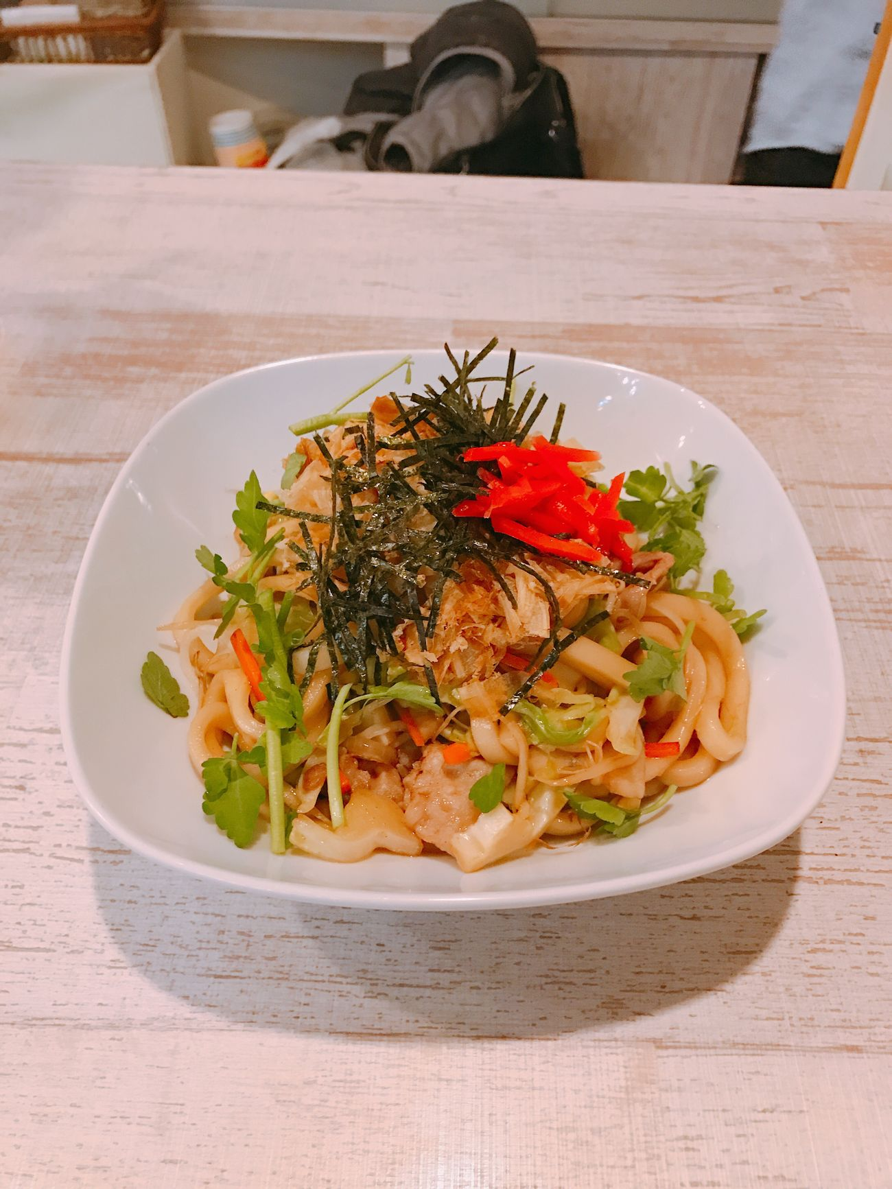 today's dinner. YAKIUDON. Freshness Ready-to-eat Food And Drink Food Plate Healthy Eating Serving Size Table Indoors  Close-up No People Day