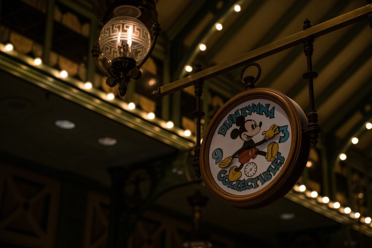 Mickeymania Ceiling Lighting Equipment Clock Time Indoors  Night Communication Built Structure Architecture Close-up Minute Hand Low Angle View Disney Disneyland Disneyland Paris Mickey Mouse Mickey Mickeymouse Paris Decoration Decor Theme Park Atmosphere
