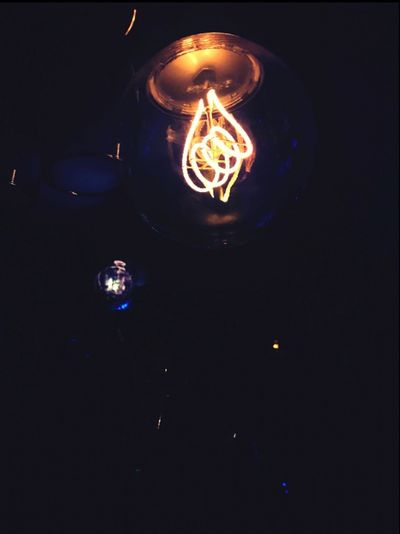 Light Bulb Electricity  Low Angle View No People Night Filament Black Background Outdoors