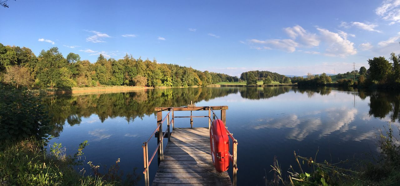 Reflection Water Pier Lake Sky Tranquil Scene Scenics Tranquility Wood - Material Idyllic Beauty In Nature Panoramic Cloud Nature Red Non-urban Scene Standing Water Majestic Jetty Day