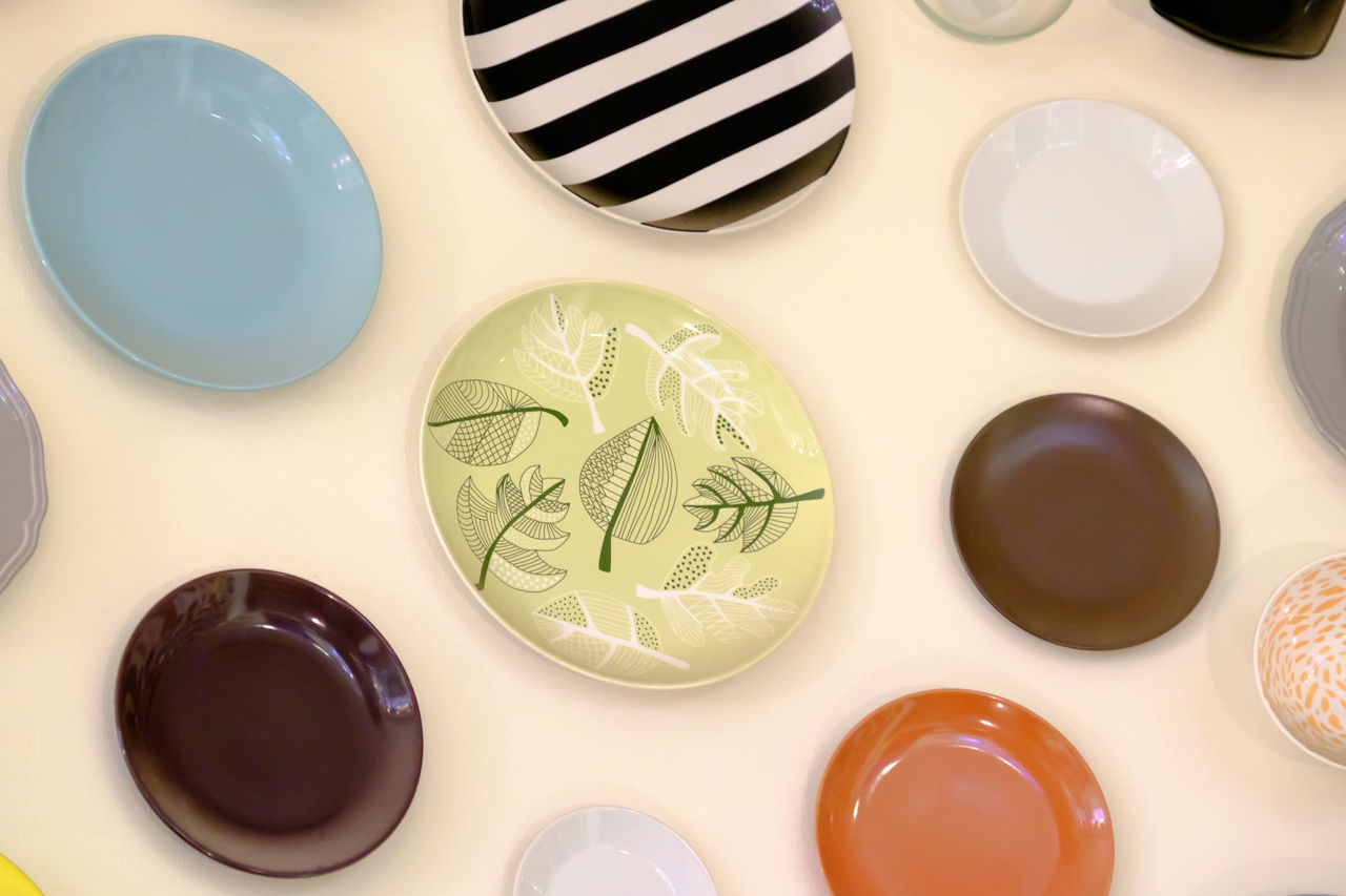 colored plates Background Close-up Colors Day Food Food And Drink High Angle View Indoors  No People Plates