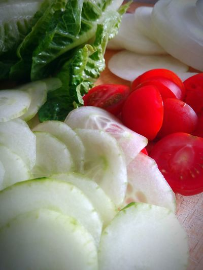 Vegetables Cucumber Tomatoes Cherry Salad Burger Time Onions Hanging Out Cooking At Home