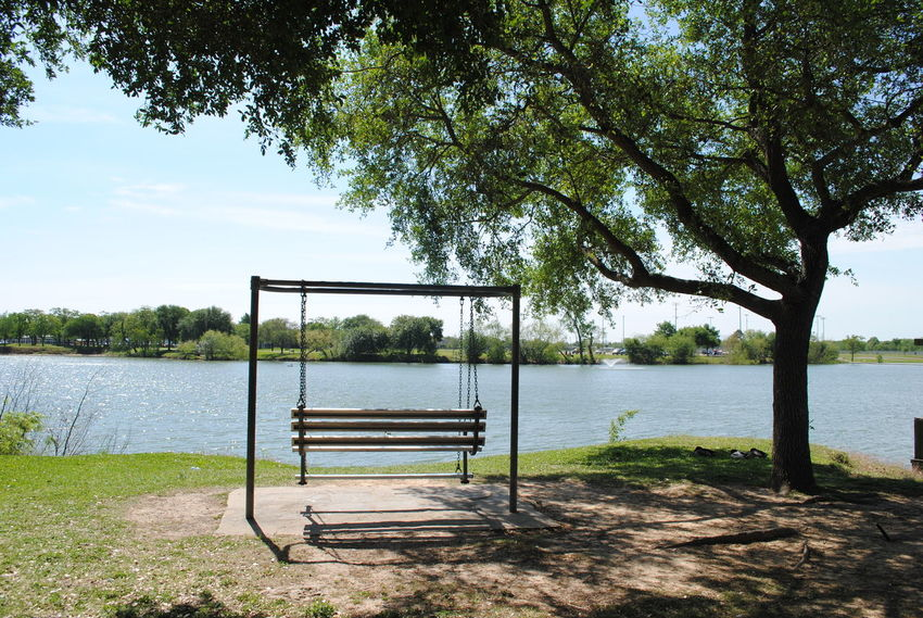 Burke Crenshaw Park Beauty In Nature Bench Day Grass Lake Nature Outdoors Relaxation Scenics Sky Tranquil Scene Tranquility Tree Water Showcase April Nikon_photography_ Place To Be  My Escape  Peace And Quiet Regroup Awayfromeverything The Great Outdoors With Adobe