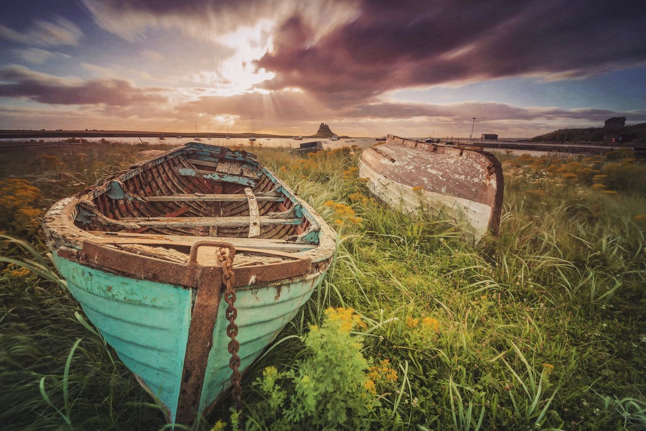 Old boat, new day Cloud - Sky No People Tranquility Outdoors Landscape Seaside Seascape Boat Old Boats Northumberland Skyporn Sunrise Sunlight Sun Morning Light Morning Sky Tranquil Scene Scenics Lindisfarne Long Exposure Cloudporn Mextures