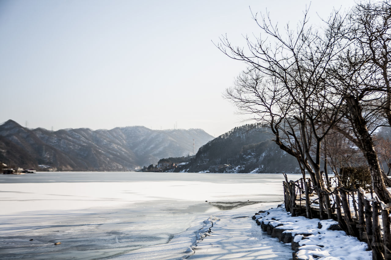 Beauty In Nature Calm Cold Cold Temperature Frozen Ice Landscape Mountain Mountain Range Nami Island Nature Non-urban Scene North Han River Outdoors Remote River Rural Landscape Scenics Snow ❄ Snow-covered Town Snowcapped Tranquil Scene Tranquility Weather Winter