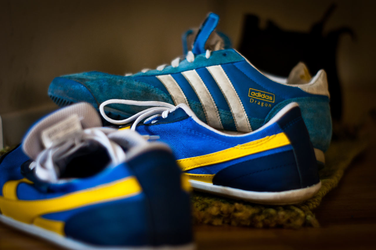 True love Adidas Adidas Dragon Blue Close-up Dragon Indoors  Lieblingsteil No People Old Shoes Pair Shoes