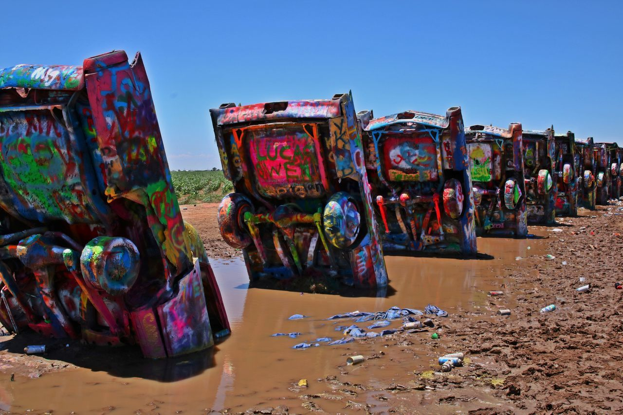 1974 Amarillo Art ArtWork Attraction Cadillac Cadillac Mountain Cadillac Ranch Cars Public Art Spraypaint Stuck Texas