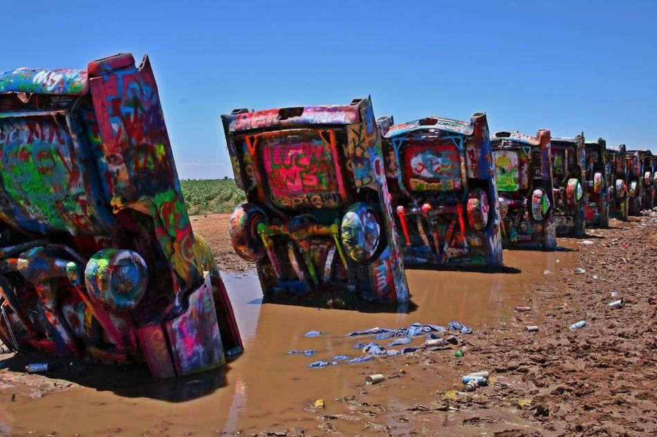 1974 Amarillo Art ArtWork Attraction Cadillac Cadillac Mountain Cadillac Ranch Cars Public Art Spraypaint Stuck Texas