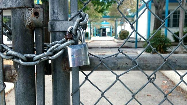 Locked Gate School Hallways Lock Chain