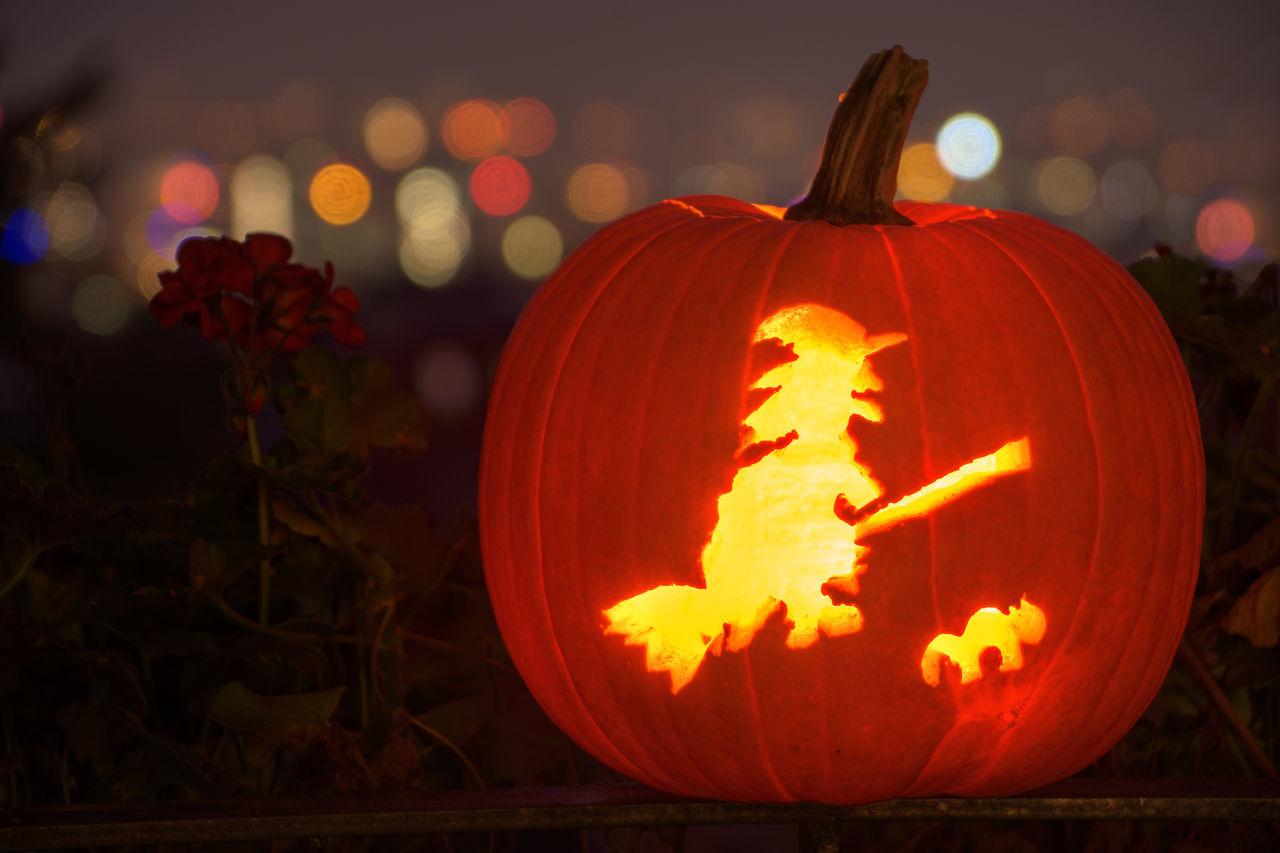 Bokeh Celebration Close-up Halloween Holiday - Event Illuminated Jack O Lantern Jack O' Lantern Night No People Orange Color Pumpkin Witch