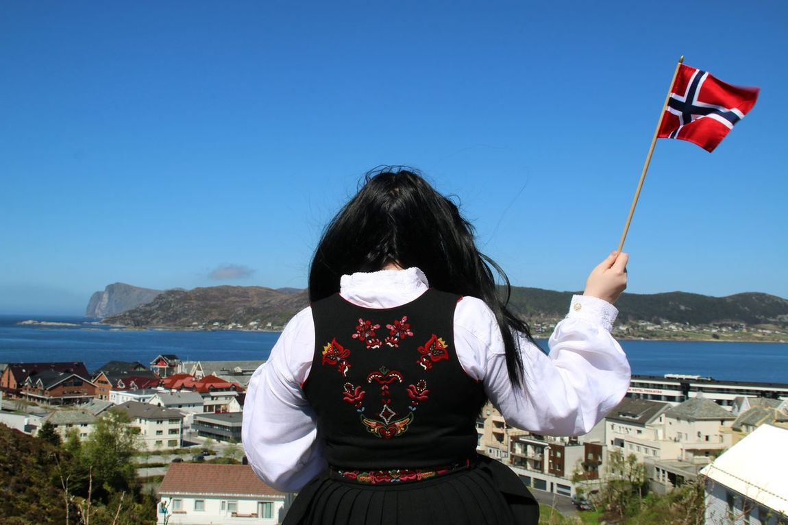 Sea Day Water Outdoors Sky One Person Nature Landscape Norway Canon National Day Bunad Traditional Clothing Flag