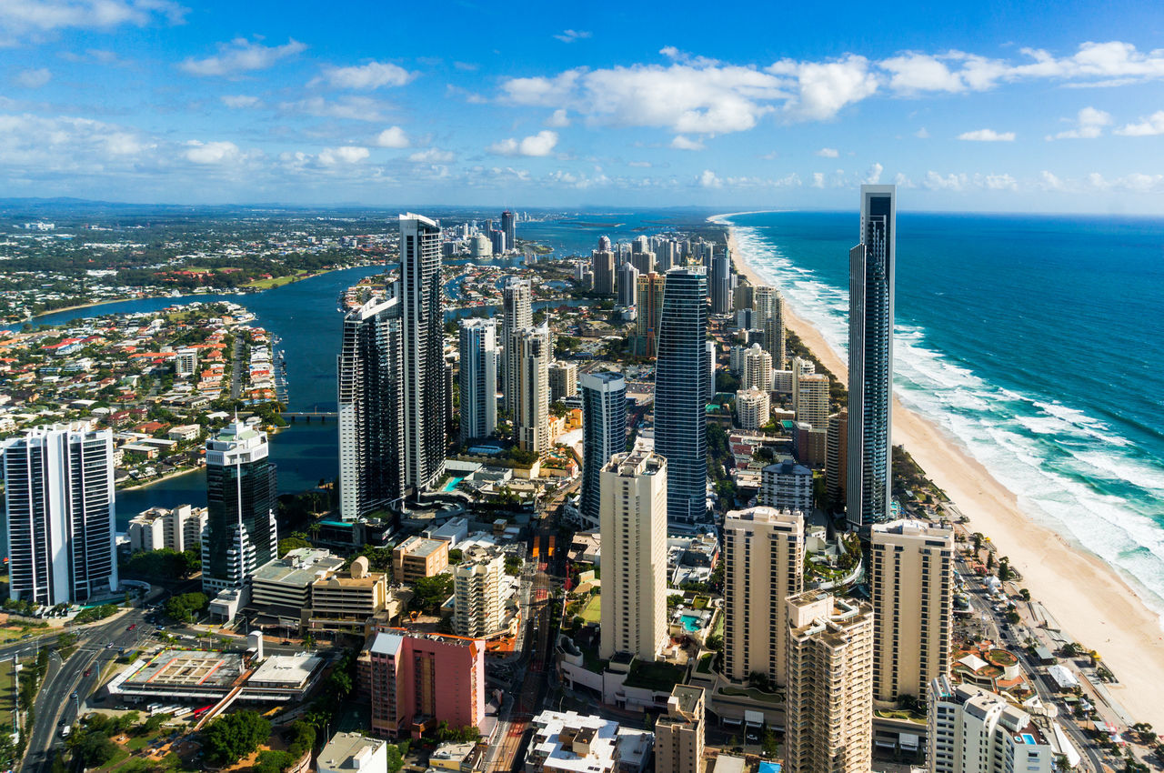 Aerial view of Gold Coast downtown. City centre and beach. Gold Coast is major resort town and holiday destination in Australia Aerial Aerial View Australia Beach Business Finance And Industry City City Cityscape Downtown District Finance Finance And Economy Futuristic Gold Coast Modern Skyscraper Summer Surfers Paradise Tourism Travel Travel Travel Destinations Tropical Climate Urban Skyline Vacations View From Above