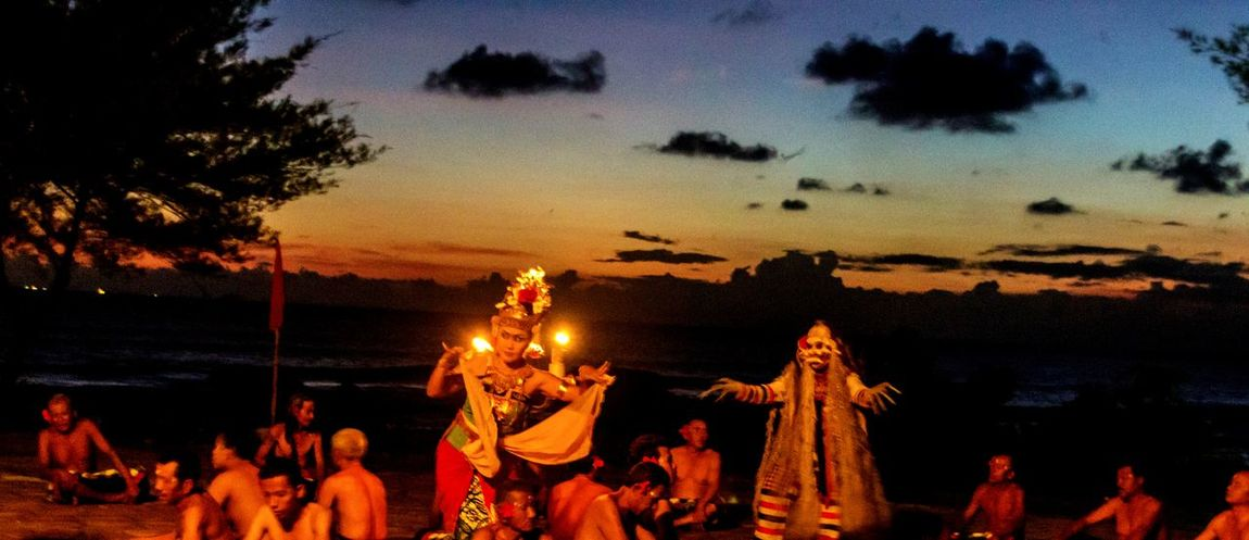 Balinese Dance Outdoors Sunset Group Of Dancers Celebrate The Moment