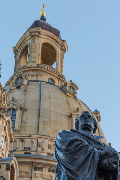 Dresden Dresden / Germany Frauenkirche Frauenkirche Dresden Martin Luther Architecture Blue Building Exterior Built Structure Clear Sky Day History Human Representation Low Angle View Male Likeness No People Outdoors Place Of Worship Religion Sculpture Sky Spirituality Statue Travel Destinations