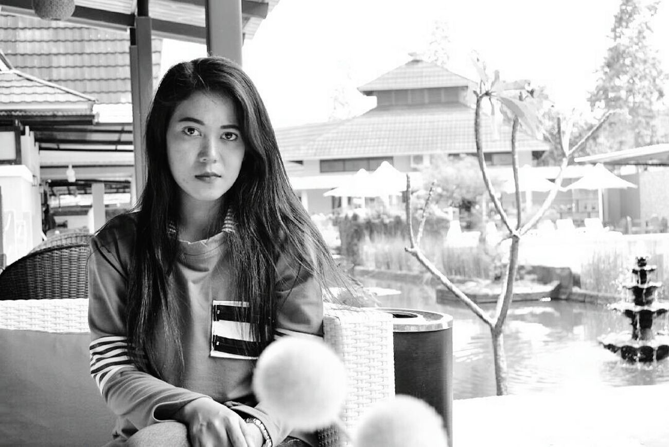 My best partner Mysis Mybest Mylove Long Hair Blackandwhite Looking At Camera Outdoors Yeah! Indonesiagram