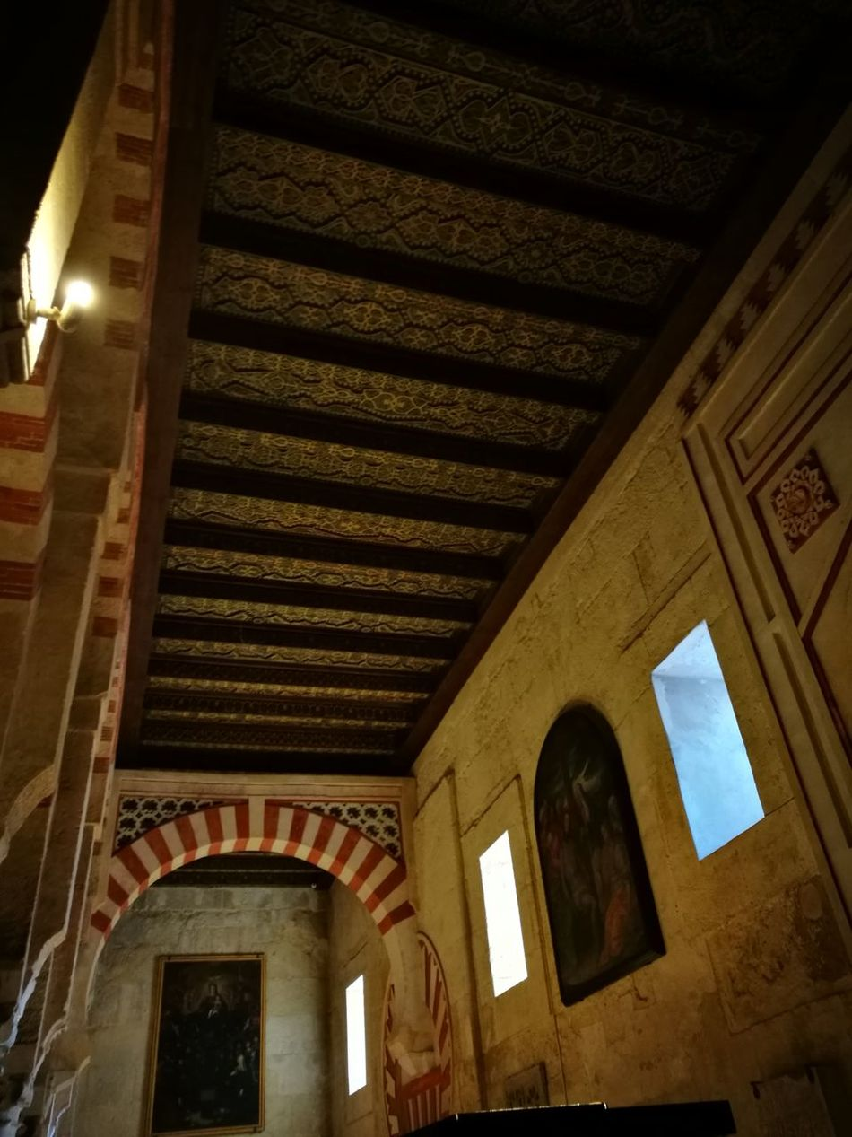 Low Angle View Architecture Built Structure Indoors  No People Illuminated Place Of Worship Attic