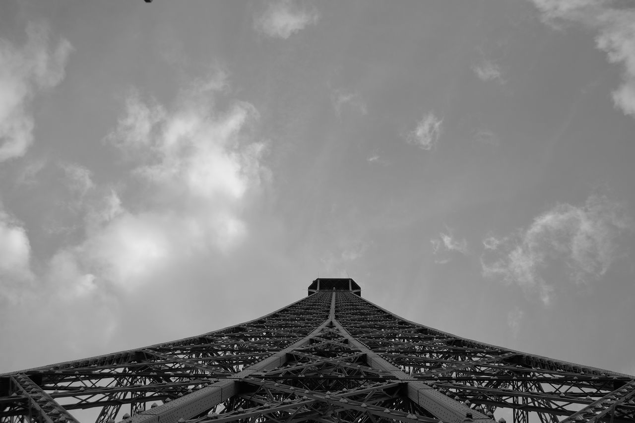 Architecture Black Black And White Built Structure Cloud - Sky Day Eiffel Tower France Low Angle View Nature No People Outdoors Paris Paris, France  Sky Travel