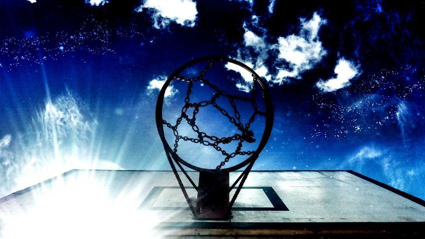 Night Lights Sky Heaven Deepblue Blue Sky Basketball