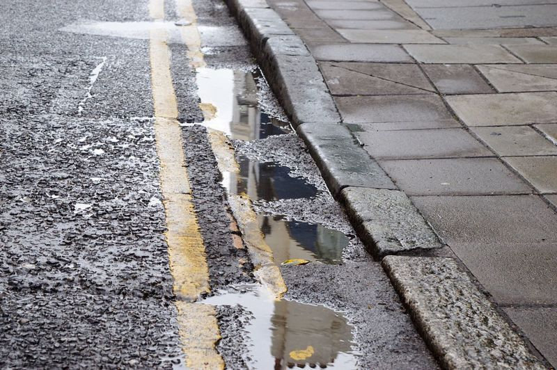 Reflection Water Rain Street Yellow Stripes House Streets Of Brighton How Do We Build The World?