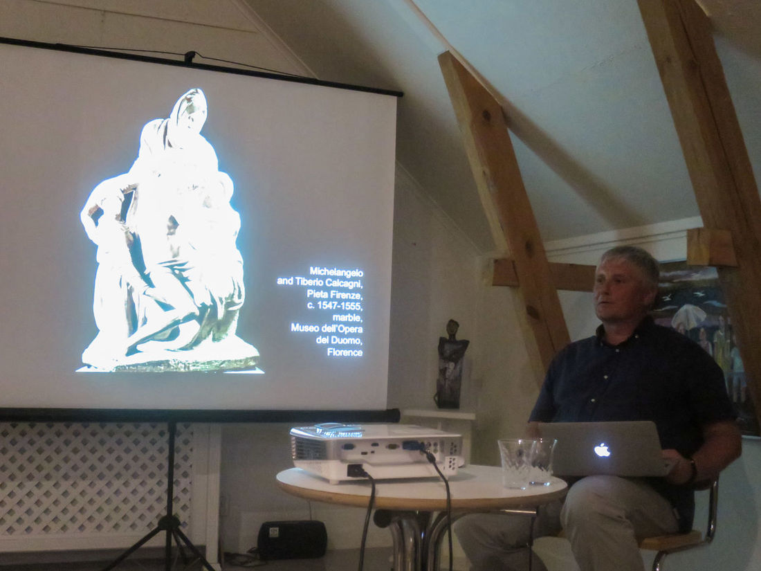 Interesting Lecture about Michelangelo by art Professor Roman Nieczyporowski, at Persgården Art Gallery, Visingsö !