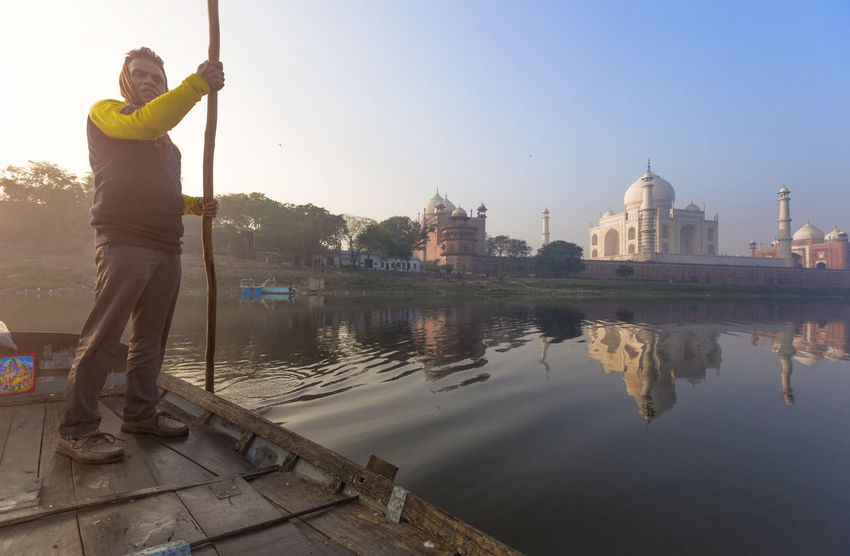 Architecture Architecture Boat Building Exterior Built Structure Clear Sky Historic Historical Building Love Monument One Person Outdoors Real People Reflection Standing Symbol Of Love Taj Mahal Tajmahal Tourism Travel Destinations